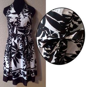 WHBM Black white and brown halter dress 4